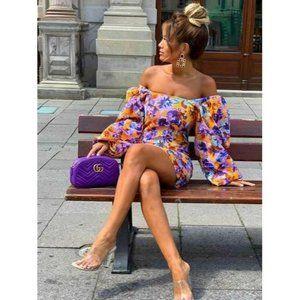 Zara Womens Camilla Dress Floral Print Mini XS